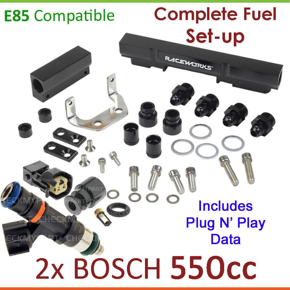 2x New BOSCH 2200cc Injectors /& Fuel Rail Setup For Mazda RX7 Turbo FC 1.3L